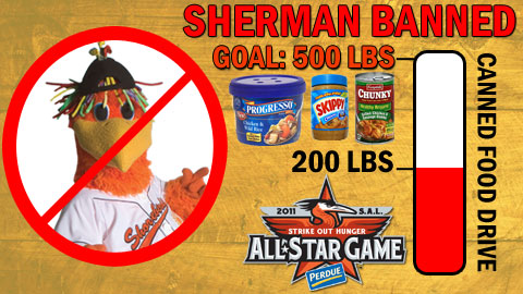 The Shorebirds need to collect 500 pounds of canned food items to get Sherman back!
