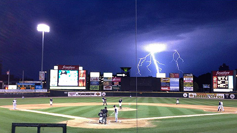 Fans picked this image of a lightning bolt over Rochester's Frontier Field.